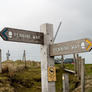 Signpost on Pennine Way near Wessenden Head Reservoir