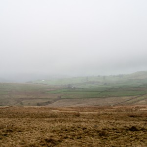 Moorland near Stoodley Pike in fog