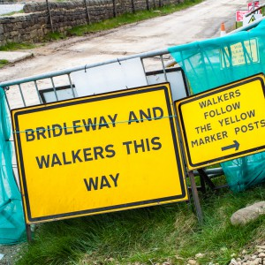 Signage for walkers near Withens Clough reservoir