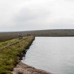 Cyclists on Black Moss Reservoir